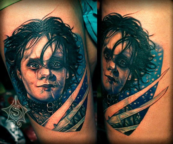 Edward Scissor Hands Tattoo By Samantha Storey Color Crimson Empire Tattoo