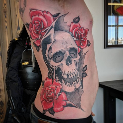 Grim Reaper And Roses Tattoo By Landon Wierenga  Black And Grey With Color Crimson Empire Tattoo