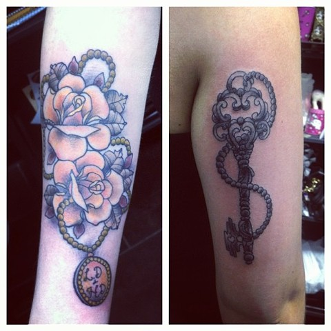 Keys Roses Pendant on arm by Sydney Dyer