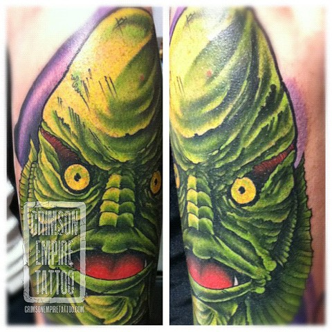 Green gill guy sleeve on arm by Jared Phair. Follow Jared @jroctizzle
