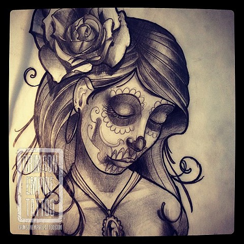 Sad sugarskull rose sketch by Chad Clothier