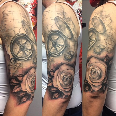 Travel Tattoo By Samantha Storey Black And Grey Crimson Empire Tattoo