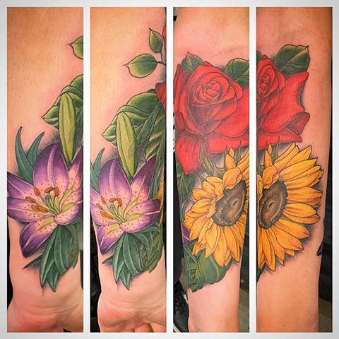 Floral Arm Tattoo by Dale Moostoos Color Crimson Empire Tattoo