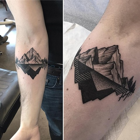 Geometric Mountain Tattoo By Cheyanne Kot Pointillism Crimson Empire Tattoo