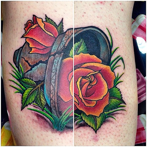 Broken Planter With Roses Tattoo By Jess Alther Color Black Gold Tattoo Co