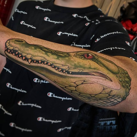 Crocodile Tattoo By Landon Wierenga Color Crimson Empire Tattoo