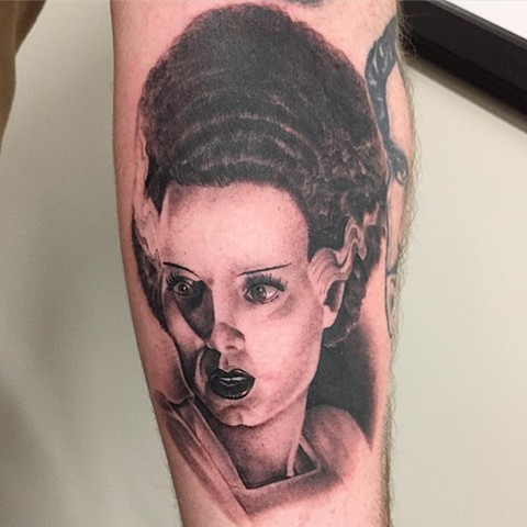 Bride Of Frankenstein Tattoo By Chad Lavers Black And Grey Crimson Empire Tattoo