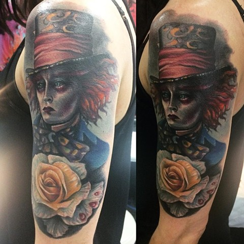 Mad Hatter Tattoo By Samantha Storey Color Crimson Empire Tattoo