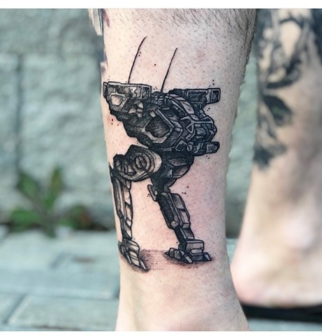Mech Tattoo By Vanessa Spezowka Crimson Empire Tattoo