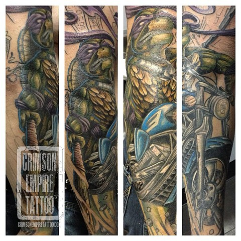Ninja turtle sleeve on arm by Josh Lamoreux