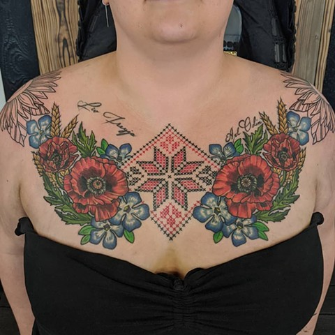 Floral and Crosstitch Chest Tattoo by Sheila Anderson Color Crimson Empire Tattoo
