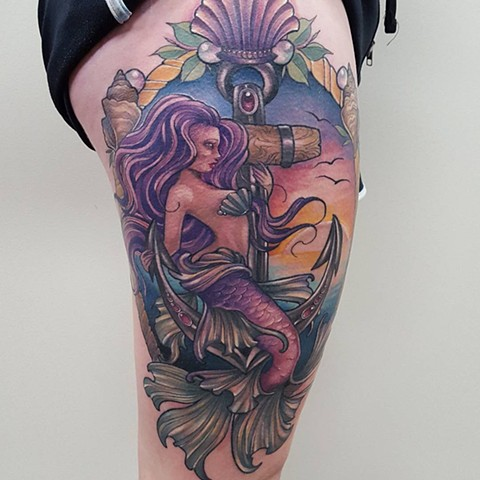 Ilustrative Mermaid On Anchor Tattoo By Sasha Roussel Color Black Gold Tattoo Co