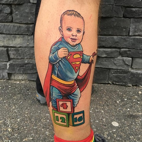 Superman Baby Tattoo By Chris Labrenz Color Black Gold Tattoo Co