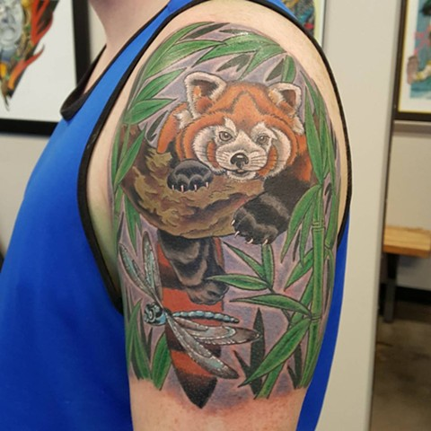 Red Panda And Dragonfly Tattoo By Sheila Anderson Color Crimson Empire Tattoo