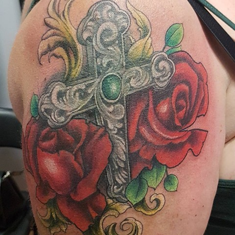 Cross And Roses Tattoo By Kevin Sherritt Color Crimson Empire Tattoo