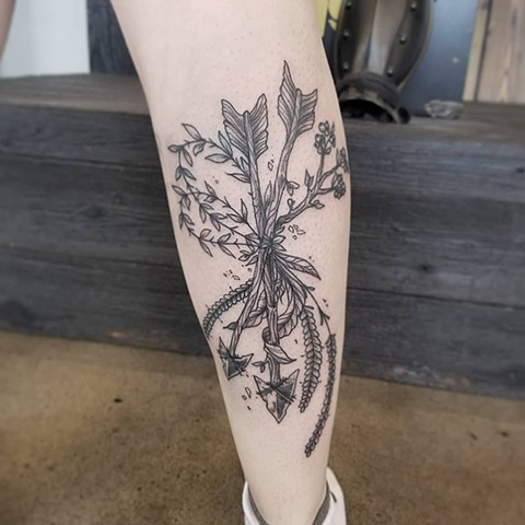 Arrows And Wheat Tattoo By Adrienne Alexander Black Work Crimson Empire Tattoo