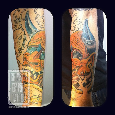 Hannya mask and koi sleeve on arm by Curt Semeniuk. Follow Curt @ol_curty_bastard