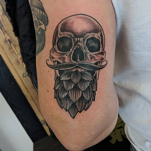 Skull with Beard Tattoo By Sheila Anderson Crimson Empire Tattoo