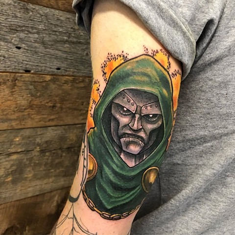 Dr Victor Von Doom Arm Tattoo by Vanessa Spezowka Color Crimson Empire Tattoo
