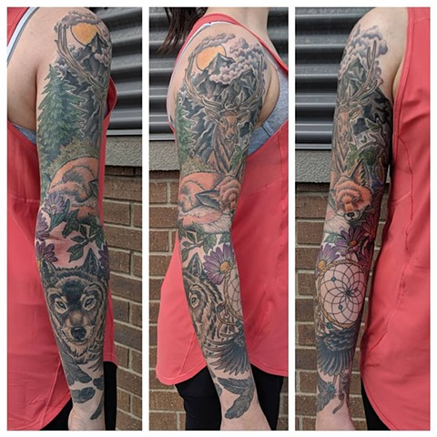 Nature Wildelife Sleeve Tattoo by Sheila Anderson Color Crimson Empire Tattoo