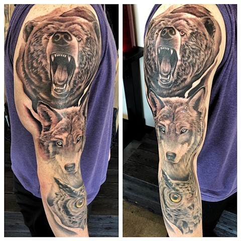 Bear, Wolf and Owl Sleeve Tattoo By Chad Lavers Black And Grey Crimson Empire Tattoo