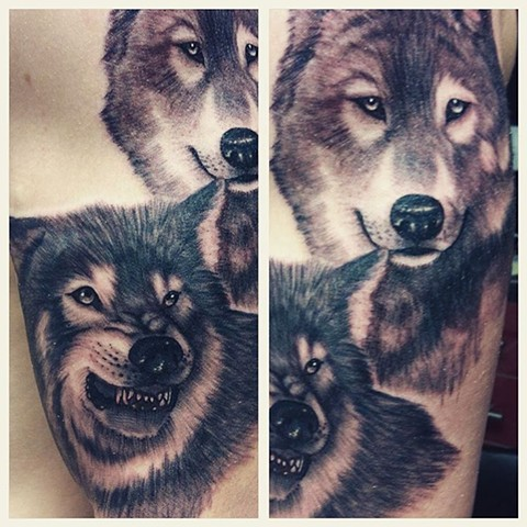 Wolves Tattoo By Kyiel Cholik Black And Grey Crimson Empire Tattoo
