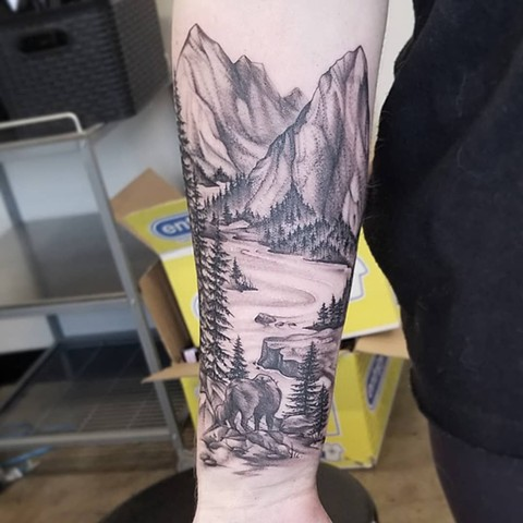 Nature Scenery Half Sleeve Tattoo By Adrienne Alexander black workCrimson Empire Tattoo