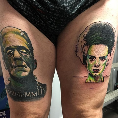 Frankenstein And Bride Tattoo By Chris Labrenz Color Black Gold Tattoo Co