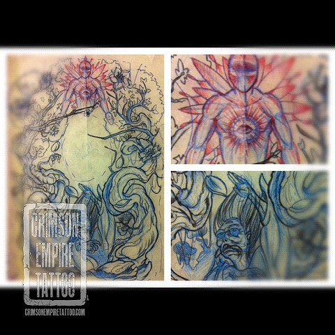 Backpiece sketch by Jared Phair