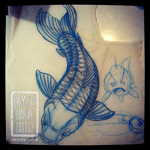 Koi fish sketch by Jessica Doyle. Follow Jessica @jessicadoyle