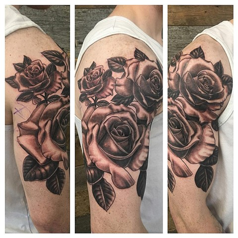 Roses Tattoo By Dale Moostoos Black And Grey Crimson Empire Tattoo