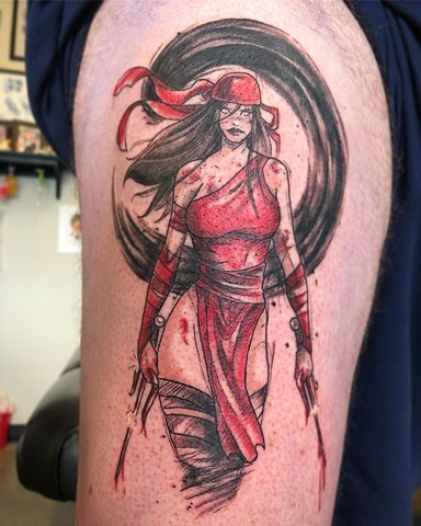 Elektra Thigh Tattoo by Vanessa Spezowka Watercolor Sketch