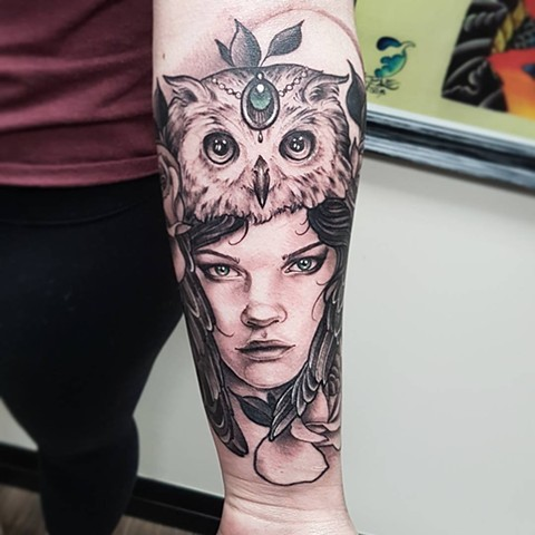 Woman Wearing Owl Headdress Tattoo By Sasha Roussel Black And Grey With Color Black Gold Tattoo Co