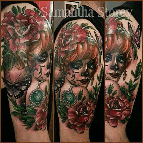 Day Of The Dead Girl Tattoo By Samantha Storey Color Crimson Empire Tattoo