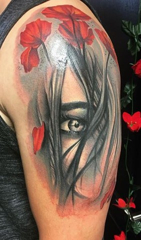 Girl With Flowers Tattoo By Samantha Storey Black And Grey With Color Crimson Empire Tattoo