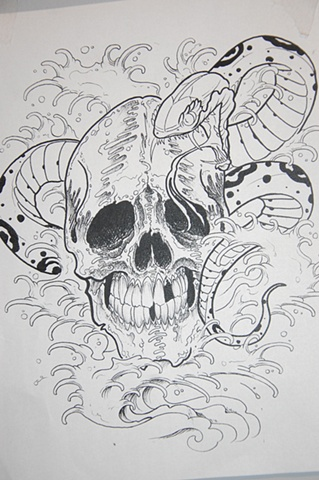 Skull Snake Sketch Tattoo
