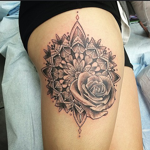 Rose Mandala Tattoo By Sarah Michelle Black And Grey Black Gold Tattoo Co