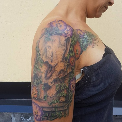 Elephant And Flowers Tattoo By Kevin Sherritt Color Crimson Empire Tattoo