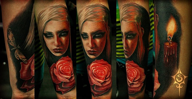 Portrait Of Woman With Rose Tattoo By Samantha Storey Color Crimson Empire Tattoo