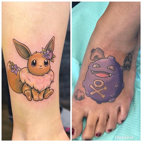 Pokemon Foot Tattoo by Vanessa Spezowka Color Crimson Empire Tattoo