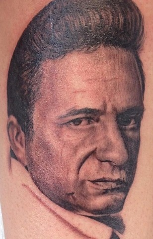 Johnny Cash Portrait Tattoo By Alan Coates Black And Grey Black Gold Tattoo Co
