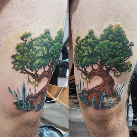 Tree With Books And Crystals Tattoo By Kevin Sherritt Color Crimson Empire Tattoo