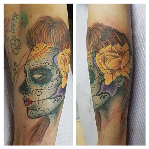 Day Of The Dead Sugar Skull Girl Tattoo By Kevin Sherritt Color Crimson Empire Tattoo