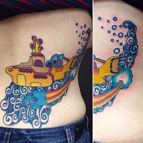 Yellow Submarine Tattoo By Jess Alther Color Black Gold Tattoo Co