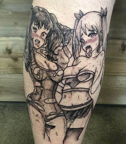 Anime Leg Tattoo by Vanessa Spezowka Black Work Crimson Empire Tattoo