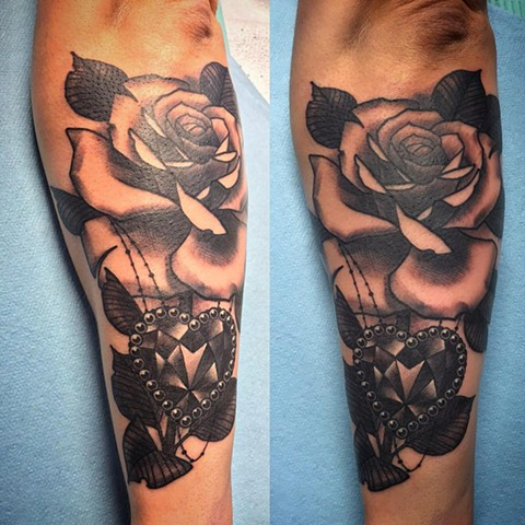 Rose And Jewel Tattoo By Landon Wierenga Black And Grey Crimson Empire Tattoo