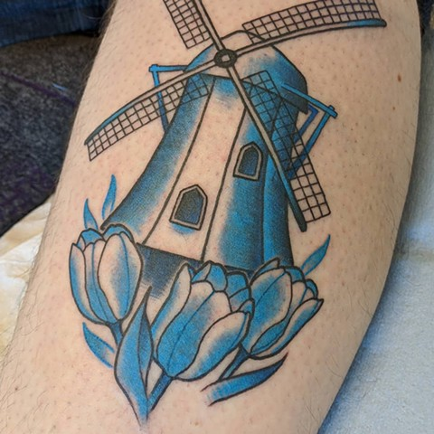 Windmill Tattoo By Landon Wierenga Color Crimson Empire Tattoo
