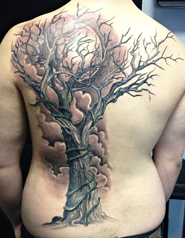 Tree And Moon Tattoo By Josh Lamoureux Black And Grey Crimson Empire Tattoo