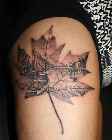 Canadian Thigh Tattoo