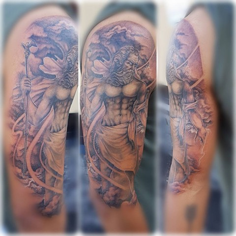 Zeus Tattoo By Kevin Sherritt Black And Grey Crimson Empire Tattoo